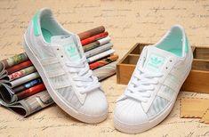 new product 719c3 d1340 56,83 € adidas Originals Superstar 80s Damen Weiß Türkis Sommer Mesh  Trainer Reduziert Online