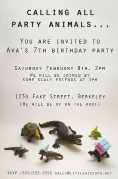 Birthday invite Little Hiccups: Calling All Party Animals. Mage and used digital picture as invite! Zoo Birthday, Animal Birthday, 4th Birthday Parties, Birthday Ideas, Jungle Party, Safari Party, Baby Party, Animal Party, Party Animals