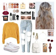 """Yellow "" by katmargoo on Polyvore featuring Converse, WithChic, Topshop, Everlane, Casetify, Skagen, Sole Society, Bobbi Brown Cosmetics, Puma and Gucci"