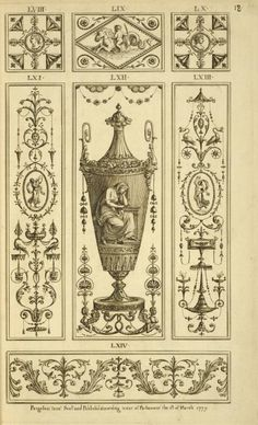 Central design of urn with weeping woman. via new York Public Library. Arabesque, Living Room Decor Traditional, Interior House Colors, Target Home Decor, Decorative Panels, Panel Art, Barbie Furniture, Mural Art, Architectural Elements