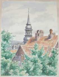 """Country Church...  Aquarel signed """"A Hitler"""" and dated """"1914"""""""