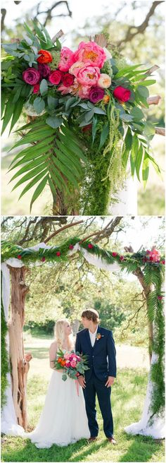 Wedding arch, coral charm peony, palm fronds, weathered wood // Eureka Photography