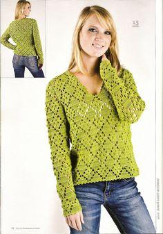 (Σειρά Fashion Ευρώπη) kraitele 4 2010 χαρακτήρισε ένα πουλόβερ βελονάκι - Πράσινο Ning - γράψιμο, ζωγραφική καρδιά