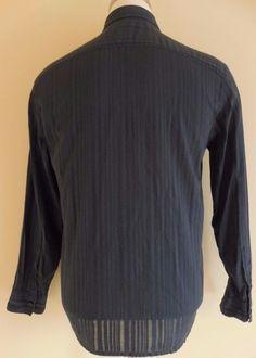 Armani EXCHANGE Shirt MEDIUM Mens GRAY Charcoal M Cotton SIZE Sz MEN A X Striped