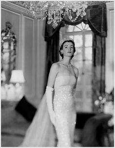 Wearing a Norman Hartnell gown, 1950