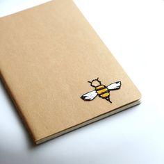Bee hand embroidered moleskine pocket notebook by PoppyandFern, $12.00