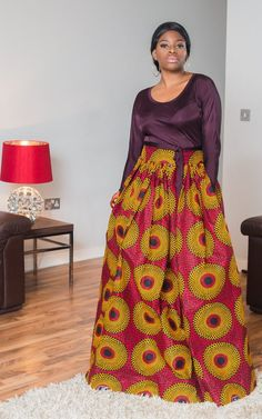 This Xaviera African maxi skirt is a breath of fresh air and gives a sense of confidence. The skirt is sexy, trendy and bold. It sits at the waist and brings Maxi Skirt Style, Maxi Skirts, Maxis, Boho Fashion, Womens Fashion, Ladies Fashion, Fashion Styles, Style Africain, Maxi Dress Wedding