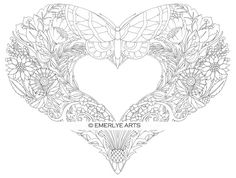 Open Hearts Coloring Pages for adults-Set of 10 by emerlyearts