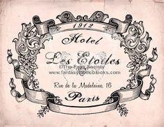 Hotel Les Etoiles   5 x 7 Fabric Block by sherrifairy on Etsy, $6.99