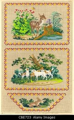 ROYALTY FREE   Berlin wool work pattern of hounds for a writing case Stock Photo, Picture and Royalty Free Image.Pic 41494827