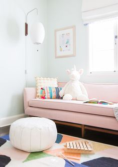 Rarely do we get a client that lets us upholster their vintage sofa in blush pink linen (newport pink from but this client did. Head over for the sneak peek of this playroom (and all the rejected design plans). Playroom Design, Playroom Decor, Playroom Ideas, Playroom Lounge, Playroom Paint Colors, Nursery Ideas, Nursery Decor, Bedroom Ideas, Baby Decor
