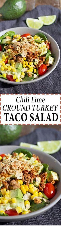 Chili Lime Ground Turkey Taco Salad!