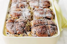 Chocolate hot cross bun and butter pudding http://www.taste.com.au/recipes/3729/chocolate+hot+cross+bun+and+butter+pudding