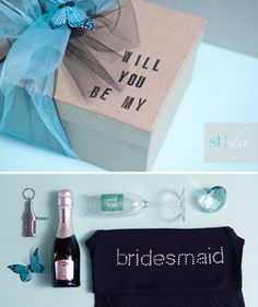 DIY Will You be my Bridesmaid? Box from SomethingTurquoise.com
