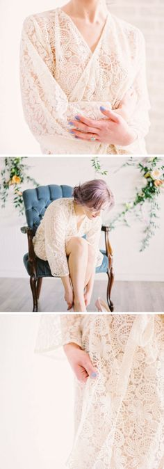 Etsy lace bridal dressing gown #kimono #gown #robe #bride