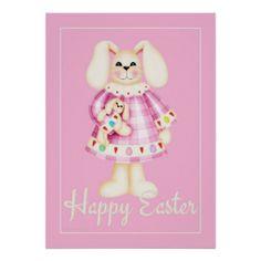 Easter Bunny Girl pink easter wall art