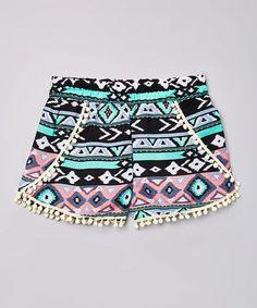 Look at this #zulilyfind! Teal & Pink Geometric Pom-Pom Shorts - Girls #zulilyfinds