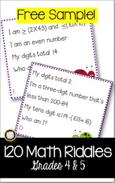 Math Riddle Cards for 4th and 5th Grade Hi Teaching Friends! Are you looking for a way to keep spiraled math review fun and engaging? Try riddles! This set of a dozen riddle cards will sharpen your fourth and fifth graders mental math ability and keep their math skills in their active memories. Multiplication division advanced addition and subtraction area perimeter place value coins decades centuries and more! Happy Teaching! 3 - 5 math math centers math riddles Primary Inspiration by Linda…