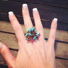 Turquoise and Brown Beaded and stone stretch ring by RainingRustic, $7.00