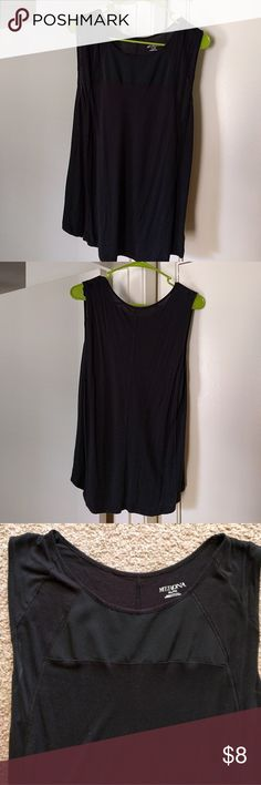 Black sleeveless blouse Black cotton shirt with a panel in front of sheer black fabric. Good for any occasion. Work, school, play! Merona Tops Blouses