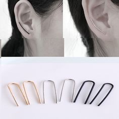 New Brief Contemporary Minimalist Gold/Silver/Black Copper Line Bar Ear Climber Hook Earrings For Women Small Bar Ear Crawl