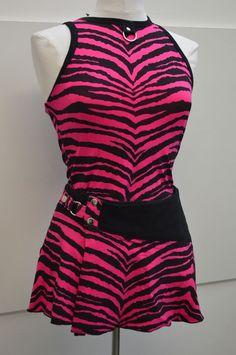 """LIP SERVICE Street Walkin' Zebra """"She's A Little Runaway"""" top #97-36-Z & """" Heartbreaker, Lovetaker"""" mini skirt #97-75-Z"""