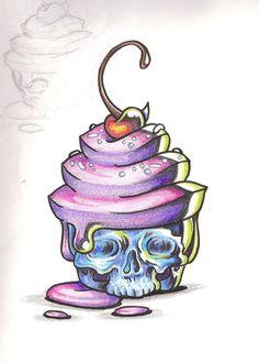 Horror Cake by shadowkeeper1327 cherry skull cupcake color Tattoo Flash art ~A.R.