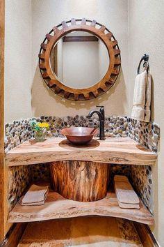 plan-vasque-bois-brut-étagère-ouverte-style-rustique-déco-galets-salle-toilette.jpg (750×1125)