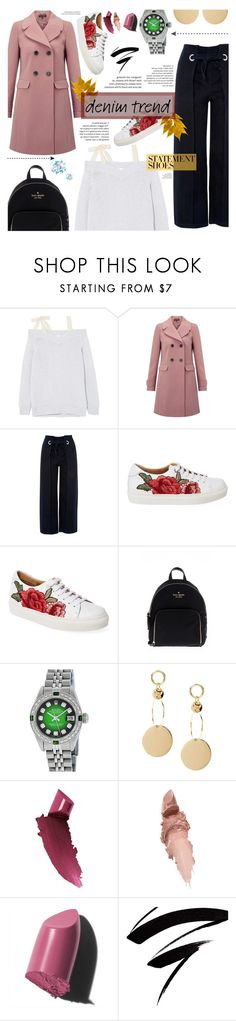"""""""Denim Trend"""" by caticorn16 ❤ liked on Polyvore featuring RED Valentino, Miss Selfridge, Topshop, Maiden Lane, Kate Spade, Rolex, By Terry, Bobbi Brown Cosmetics, Nails Inc. and denim"""
