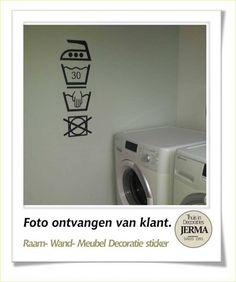 Raam-, Wand decoratiesticker wassymbolen sticker washok Laudry washok tekst met pictogram wasgoed etiketjes