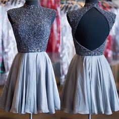 Short Custom Homecoming Dresses,Grey Homecoming Dresses,High Neck Homecoming Dresses,Sparkly Beads Homecoming Dresses,Cocktail Dresses