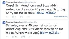 NEWSPAPER CORRECTS TWEET ABOUT LANCE ARMSTRONG WALKING ON THE MOON 45 YEARS AGO