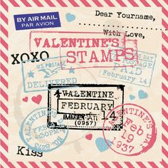 Valentines Day Vintage Template Background Stamps vector image on VectorStock