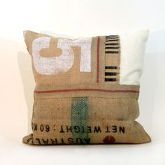 patched burlap cushion by cloth (making this)
