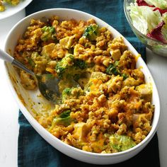 This delicious chicken and broccoli casserole recipe is a twist on chicken divan that came from an old boss. It's quick, satisfying comfort food. —Jennifer Schlachter, Big Rock, Illinois Potatoe Casserole Recipes, Chicken Broccoli Casserole, Broccoli Chicken, Casserole Dishes, Chicken Stuffing, Cooked Chicken, Broccoli Bake, Stuffing Mix, Broccoli Souffle