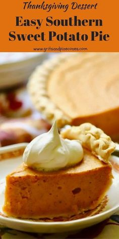 Easy Southern Sweet Potato pie tastes like a cool crisp Fall day, warm pungent spices, and Thanksgiving dinner all wrapped up in one delicious and decadent bite. #sweetpotatopie, #sweetpotato, #sweetpotatorecipes, #thanksgivingrecipes, #thanksgivingdesserts, #southernrecipes via @gritspinecones Chocolate Pie Recipes, Chocolate Cobbler, Thanksgiving Desserts, Christmas Desserts, Christmas Baking, Easy Holiday Recipes, Easy Recipes, Holiday Pies, Easy Pie