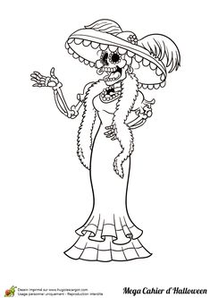 La Dame squelette d'Halloween à colorier Skull Coloring Pages, Pattern Coloring Pages, Animal Coloring Pages, Adult Coloring, Coloring Books, Day Of The Dead Drawing, Mexico Day Of The Dead, Birthday Gifts For Boyfriend Diy, Creepy Images