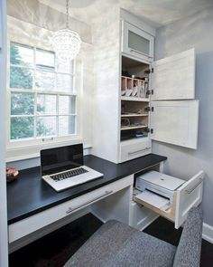 Craft room office built ins Ideas for 2019 Craft room office built ins … – Home office design layout Home Office Shelves, Office Built Ins, Home Office Cabinets, Home Office Organization, Home Office Space, Home Office Desks, Organization Ideas, Built In Desk, Small Office