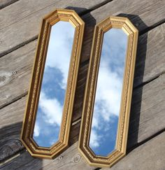 Vintage Lot of 2 Mirrors Home Interiors HOMCO Skinny Molded Resin Picture Accents Wall Decor Ornate *Gold Tone Frame Color May Vary Slightly Old Hickory House, Accent Wall Decor, Wall Groupings, Glass Votive Holders, Beautiful Mirrors, Vintage Walls, Accent Pieces, Interiors, Skinny