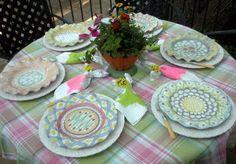 Pretty spring plaids w/MacKenzie-Childs dishes - gorgeous!