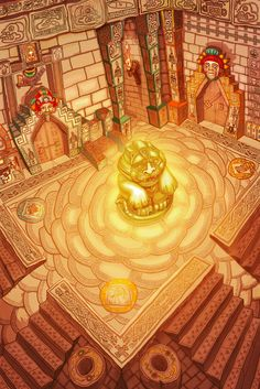 by Anca Georgescu - Aztec temple - inside Temple Inca, Aztec Temple, Maya, Aztec Architecture, Aztec Culture, Mesoamerican, Game Concept Art, Historical Art, Ancient Ruins