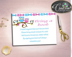 Pink Owl Baby shower Girl BRING A BOOK inserts printable, owl pink blue baby shower theme, digital files, jpg pdf, instant download - owt01 #babyshowerparty #babyshowerinvites