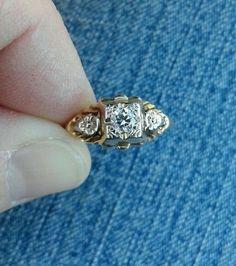 Vintage Antique .25ct Diamond 14k Yellow White Gold Engagement Ring 1920 Art Deco