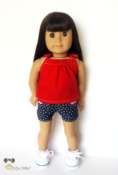 American Girl Doll Clothes Patriotic Pocket Shorts by JoDeePetites $22.00