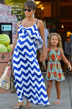 Summer style: Both Halle and daughter Nahla looked effortlessly stylish as they went for a casual walk out shopping LA
