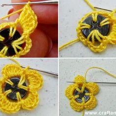 En 4 étapes la fleur au crochet se réalise rapidement.