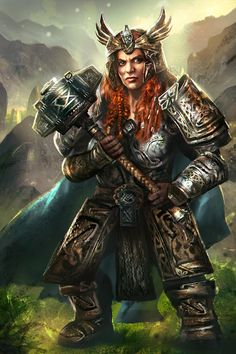 Hilda Gladiators of Dragon Isle Dwarf by mlappas on DeviantArt Fantasy Dwarf, Fantasy Female Warrior, Female Armor, Fantasy Rpg, Medieval Fantasy, Fantasy Women, Fantasy Girl, Dungeons And Dragons Characters, Dnd Characters