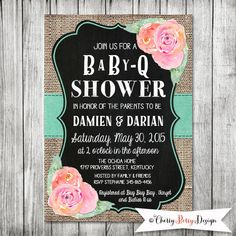 Chalkboard BBQ Baby Shower Invite - 5x7 JPG by CherryBerryDesign on Etsy https://www.etsy.com/listing/222961888/chalkboard-bbq-baby-shower-invite-5x7