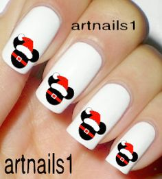 Christmas Nails Disney Nail Art Mickey Mouse Santa by artnails1