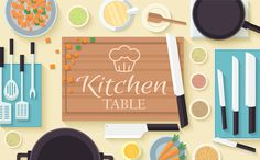 Flat kitchen table vector concept by Sir.Enity on Creative Market